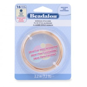 Beadalon® German Style Wire Round Gold Color 16 Gauge 1.3mm (.050in) 2.2m (7.2ft)