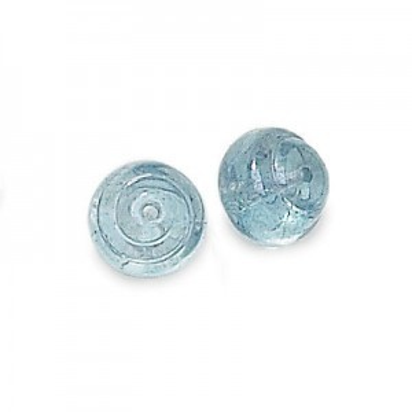10mm Lumi Blue Czech Glass Snail Baroque Lumis Loose (300pc)