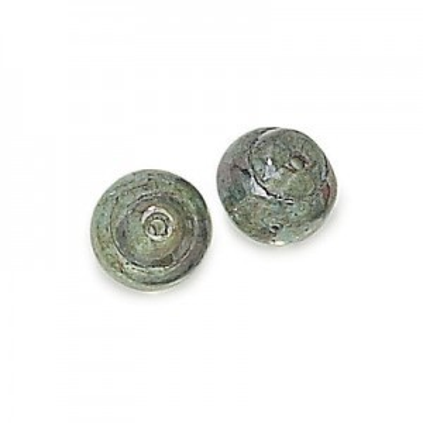 10mm Lumi Green Czech Glass Snail Baroque Lumis Loose (300pc)