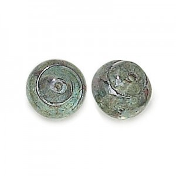 12mm Lumi Green Czech Glass Snail Baroque Lumis Loose (150pc)