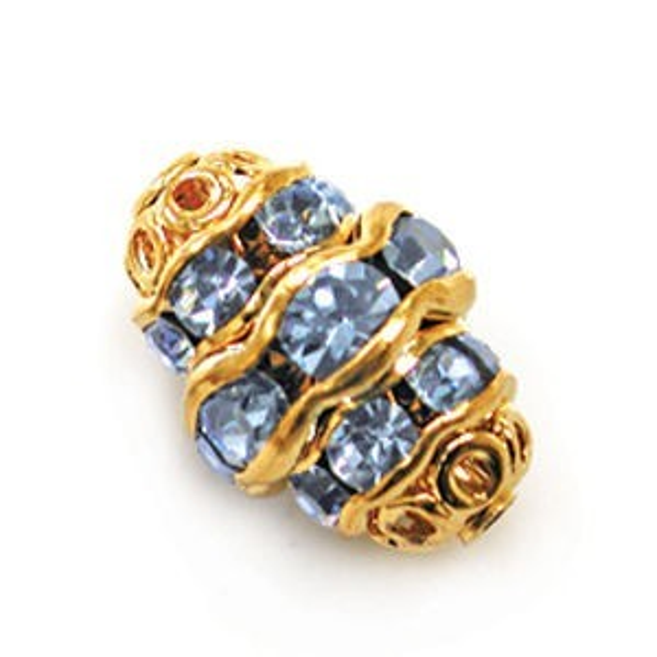 12mm Light Sapphire on Gold Filigree Rhinestone Fancy Oval