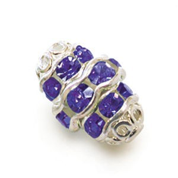 12mm Sapphire on Silver Filigree Czech Rhinestone Fancy Oval