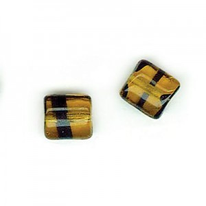 8x7mm Tortoise Shell Glass Chicklet Beads Loose (300pc)