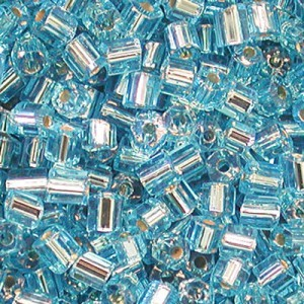 10/0 2 Cut Aqua Silver-Lined