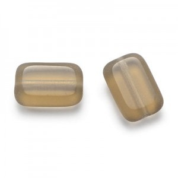 12x8mm Smoke Topaz Chicklet Cut Czech Glass Beads (300pc)