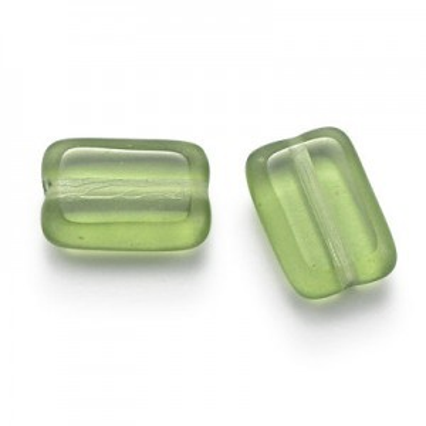 12x8mm Olivine Chicklet Cut Czech Glass Beads (300pc)