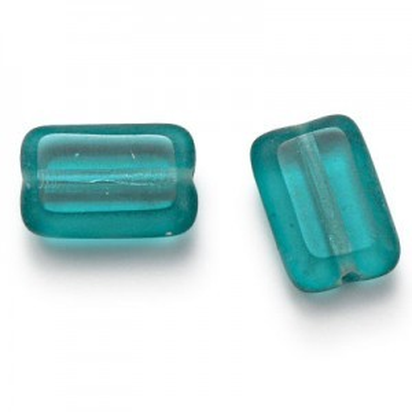 12x8mm Teal Chicklet Cut Czech Glass Beads (300pc)