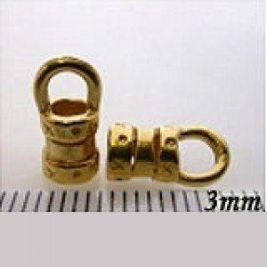 11mm Crimp End W/ Ring 3mm Id Pewter W/ Gold Plate Finish 10pcs