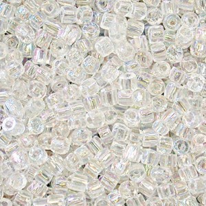 9/0 3 Cut Crystal AB Strung Czech Beads 30,000 Pc. Per Pkg