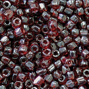 9/0 3 Cut Garnet Transparent Strung Czech Beads 30,000 Pc. Per Pkg
