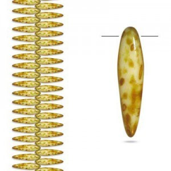 5x16mm Butter Pecan Thorn Czech Glass Beads - Apx 4 Inch Strand (44 Beads)