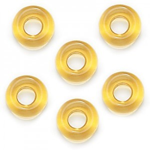 9mm Amber Czech Glass Round Loop Rings Loose (300pc)