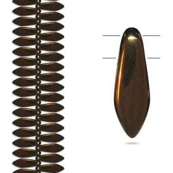 5x16mm Dark Bronze 2-Hole Dagger Czech Glass Beads - Apx 4 Inch Strand (36 Beads)