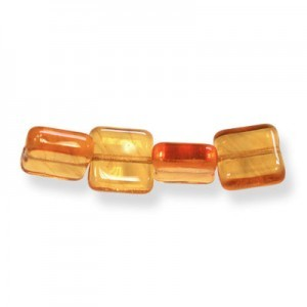 6mm Amber Czech Glass Flat Square Loose (600pc)