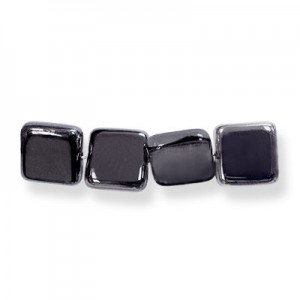9mm Hematite Czech Glass Flat Square Loose (300pc)
