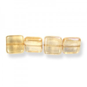 9mm Crystal Champagne Czech Glass Flat Square Loose (300pc)