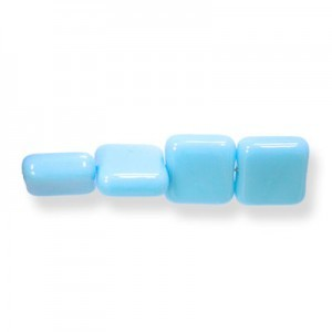 9mm Blue Turquoise Opaque Czech Glass Flat Square Loose (300pc)