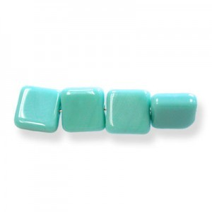 6mm Green Turquoise Opaque Czech Glass Flat Square Loose (600pc)