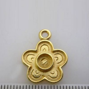 20x16mm Flower Pendant / Charm for 5mm Cabochon Pewter W/ Gold Plate Finish 10pcs