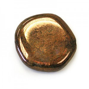 19mm Lumi Brown Coated Czech Glass Odd Coin Loose (150pc)