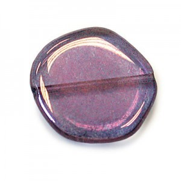 19mm Lumi Amethyst Coated Czech Glass Odd Coin Loose (150pc)