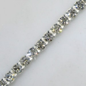 1-Row Ss19, 4.5mm MC Chaton Metal Set Banding Crystal, Silver Plated on White Tape