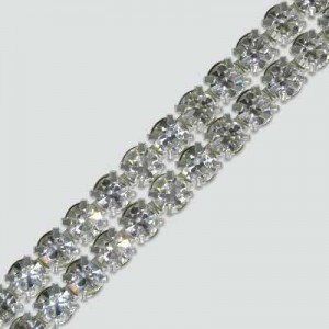 2-Row MC Chaton Metal Banding Crystal, Silver Plated on White Net, No Extra Netting
