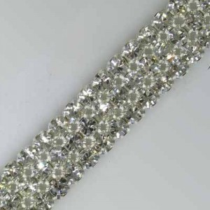 3-Row MC Chaton Metal Banding Crystal, Silver Plated on White Net, No Extra Netting