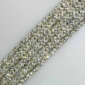 4-Row MC Chaton Metal Banding Crystal, Silver Plated on White Net, No Extra Netting