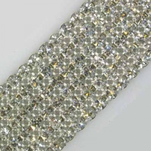 6-Row MC Chaton Metal Banding Crystal, Silver Plated on White Net, No Extra Netting
