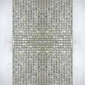 24-Row MC Chaton Metal Banding, Crystal, Silver Plated, White Netting on Both Sides