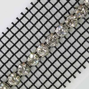 1-Row Ss19, 4.5mm MC Chaton Metal Set Banding Crystal, Silver Plated, Black Netting on Both Sides