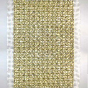 24-Row MC Chaton Metal Banding Crystal, Gold Plated, White Netting on Both Sides