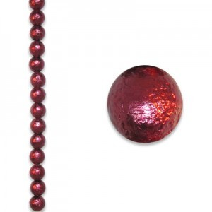 6mm Round Burgundy Ice Pearl - 4 Inch Strand (Apx 17 Beads)