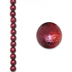 8mm Round Burgundy Ice Pearl - 4 Inch Strand (Apx 13 Beads)