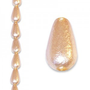 12x7mm Cream Ice Tear Drop Pearls - 4 Inch Strand (Apx 9 Beads)