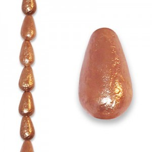 12x7mm Copper Ice Tear Drop Pearls - 4 Inch Strand (Apx 9 Beads)