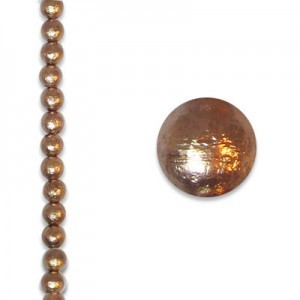 6mm Round Copper Ice Pearls - 4 Inch Strand (Apx 17 Beads)