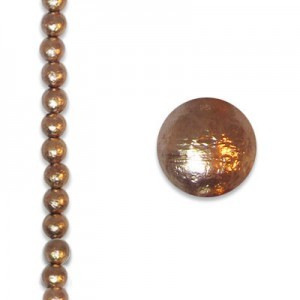 8mm Round Copper Ice Pearls - 4 Inch Strand (Apx 13 Beads)