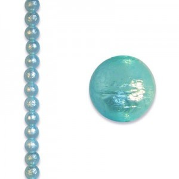6mm Round Aqua Ice Pearl - 4 Inch Strand (Apx 17 Beads)