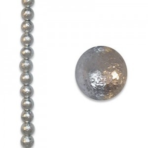 8mm Round Light Silver Ice Pearls - 4 Inch Strand (Apx 13 Beads)