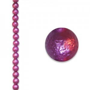 6mm Round Fuchsia Ice Pearl - 4 Inch Strand (Apx 17 Beads)