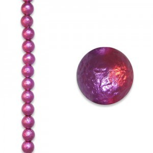 8mm Fuchsia Round Ice Pearl - 4 Inch Strand (Apx 13 Beads)
