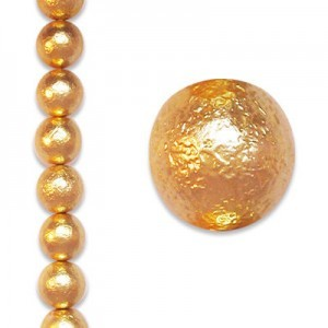 10mm Round Gold Ice Pearl - 4 Inch Strand (Apx 11 Beads)
