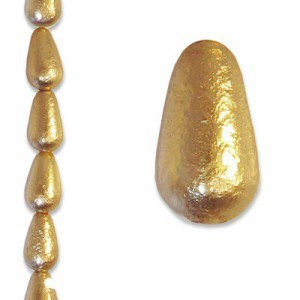 12x7mm Gold Ice Tear Drop Pearls - 4 Inch Strand (Apx 9 Beads)