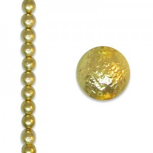 8mm Round Gold Ice Pearl - 4 Inch Strand (Apx 13 Beads)