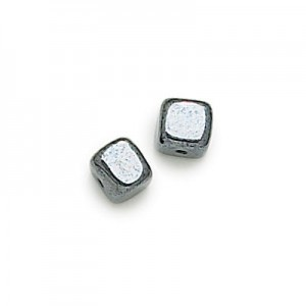 8x11mm Hematite Cube Czech Glass Beads Loose (300pc)