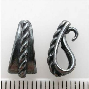 13mm Pendant Bail W/ Hidden Loop Pewter W/ Gun Metal Finish 10pcs