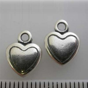 12x9mm Heart Charm Pewter W/ Ant Silver Finish 10pcs