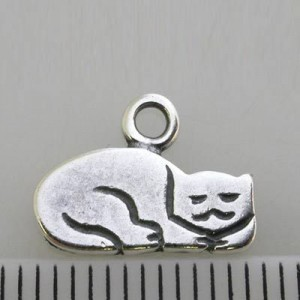 10x14mm Napping Cat Charm Pewter W/ Ant Silver Finish 10pcs